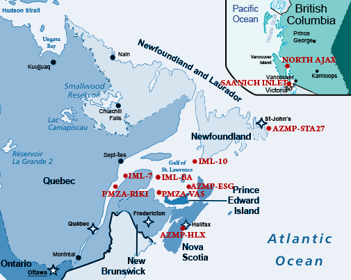 map showing the buoys' position